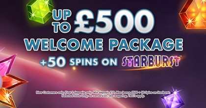 Get Upto £500 Welcome Bonus Package + 50 Spins On Starburst